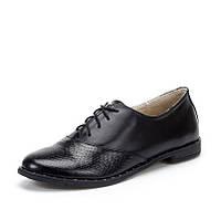 Туфли чёрные женские из натуральной кожи с шнуровкой на тонкой подошве с  маленьким широким каблучком 6dc77dfd90bfb