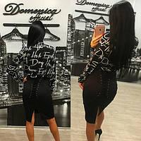 Черная женская юбка со шнуровкой сзади tez311193