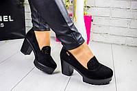 Жіночі туфлі на підборах, тракторна підошва, фото 1