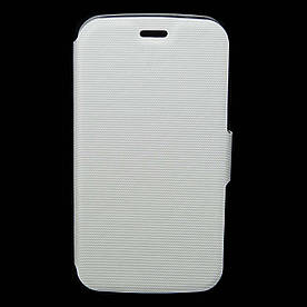 Чехол книжка для Samsung G350E Galaxy Star Advance Duos боковой с отсеком для визиток перфорация Белый