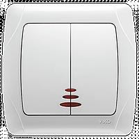 Выключатель 2-х клавишный с подсветкой белый Viko Carmen