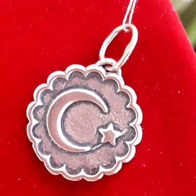 Срібна мусульманська підвіска Півмісяць із зіркою - Півмісяць кулон срібло - Півмісяць підвіска срібло