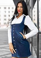 Джинсовая утягивающая юбка-корсет на пуговицах tez141213