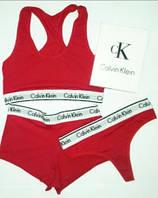 Женский комплект нижнего белья  Calvin Klein красный  (топ + стринги+шорты)(реплика)