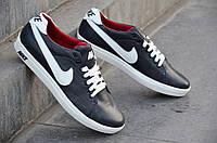 Кроссовки мокасины кожаные Nike реплика мужские черные Nike реплика  кожа (Код: Ш117) Только 40р и 41р!