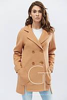Яркое демисезонное пальто прямого кроя 46 и 48
