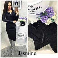 Женский костюм из ангоры, юбка и кофта с кожаными вставками и шнуровкой, черный