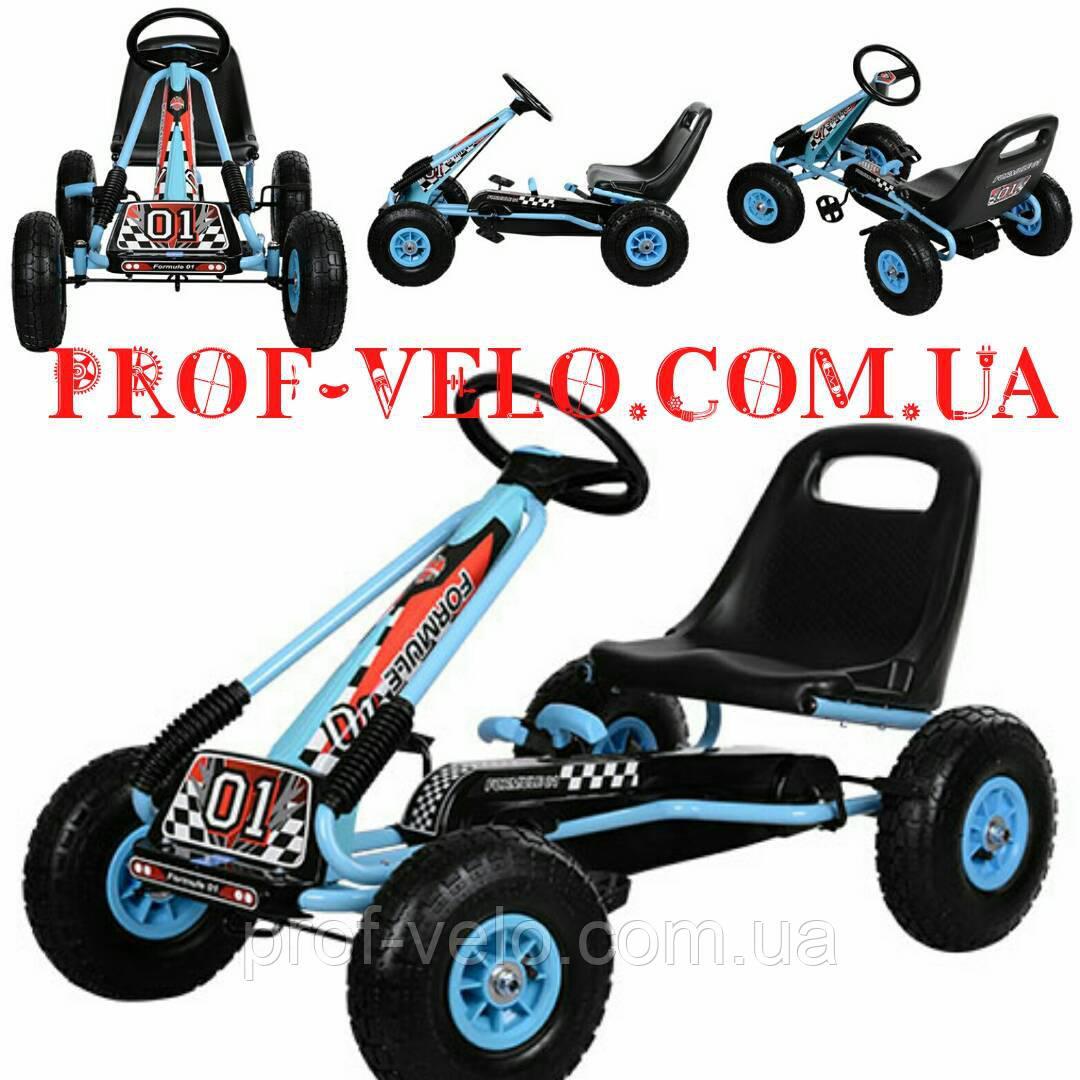 Дитячий веломобильный-педальний КАРТ M 0645-12 гумове колесо (Блакитний)