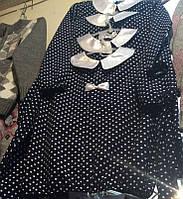Блуза черная детская в горошек