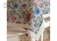 Скатерть хлопковая с кружевом Рогожка Цветы, арт. MG-140296