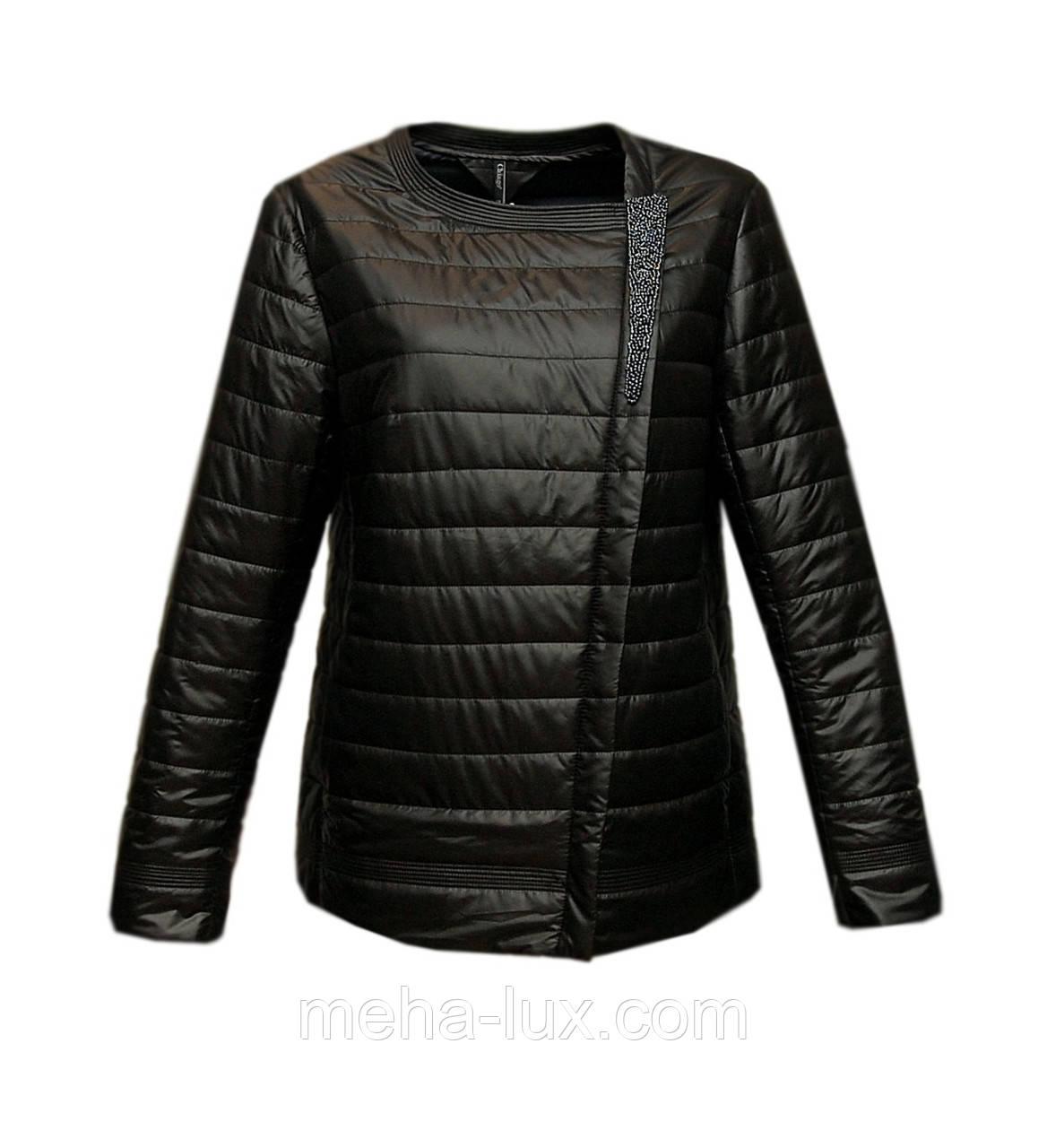 68b9db3cbf8 Куртка Chiago женская демисезонная короткая с бисером черная -