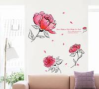 Інтер'єрна наліпка Квіти  / Интерьерная наклейка Цветы Акварель (AY7234)