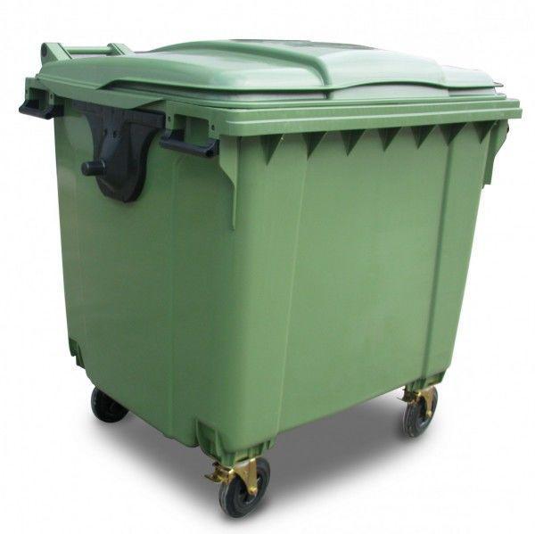 Контейнер для сміття 1100 літрів зелений пластиковий євростандарт, плоска кришка 1000
