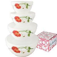 Набор емкостей для хранения продуктов с крышкой 4шт (7 ', 6', 5 ', 4,2') Красный мак