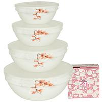 Набор емкостей для хранения продуктов с крышкой 4шт (7', 6' , 5' , 4,2' ) 'Айва оранж'