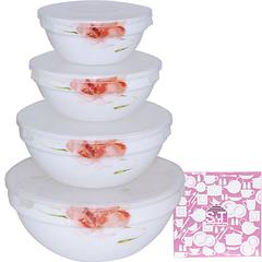 Набір ємностей для зберігання продуктів з кришкою 4шт (7', 6' , 5' , 4,2' ) 'Квіткова акварель'