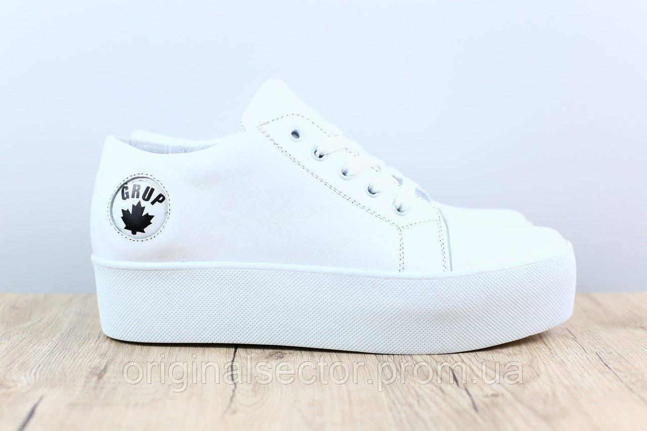 Белые женские кроссовки криперы на высокой подошве - интернет-магазин