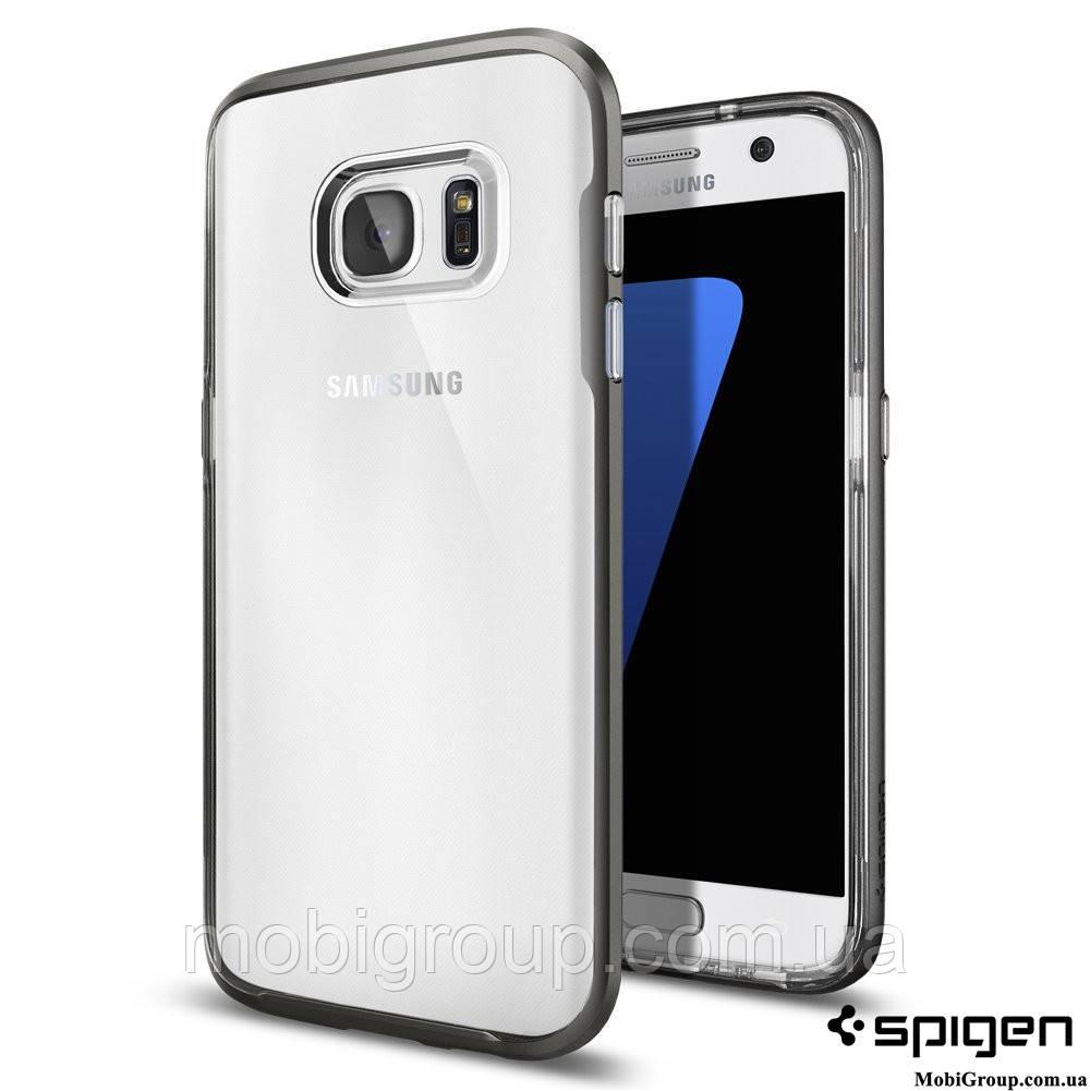 Чехол Spigen для Samsung 7 Edge Neo Hybrid Crystal, Gunmetal