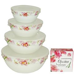 Набір ємностей для зберігання продуктів з кришкою 4шт (7', 6' , 5' , 4,2' ) 'Орхідея'