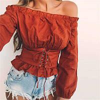 Модная женская блуза с резинкой на плечах и широким поясом на шнуровке (3 цвета)