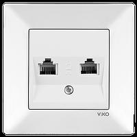 Розетка двойная телефонная RJ11 белая Viko meridian