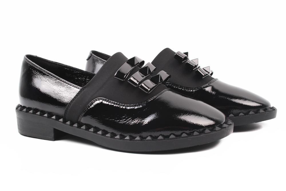 Туфли женские Erisses натуральная лаковая кожа, цвет черный (изысканные, каблук, маленькие размеры)