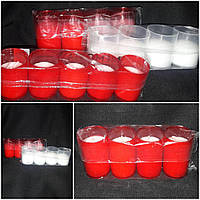 Свеча в пластиковом стакане (ПОЛЬША) 4 шт, вр.горения 18 часов, в-6 см, 48\38 (цена за 1 уп +10 грн)