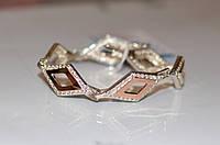 Серебряный браслет с золотыми вставками