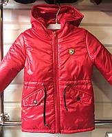 Демисезонная однотоннаядетская курточкадля мальчика от 3 до 6лет красная