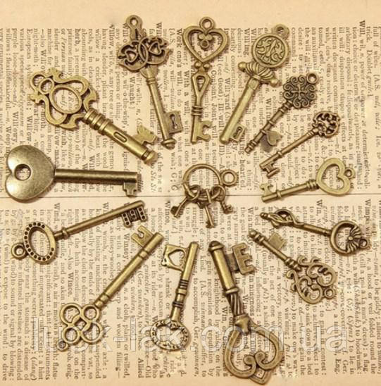 Набор 3 шт. подвесок, ключ, цвет-бронза
