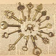 Набор подвесок, ключ, бронза, 3 шт