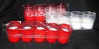 Свеча в пластиковом стакане (ПОЛЬША) 5 шт, вр.горения 15 часов, в-5 см, 36\26 (цена за 1 уп +10 грн)