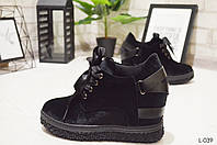 Ботиночки женские на танкетке демисезонные черные, женская обувь