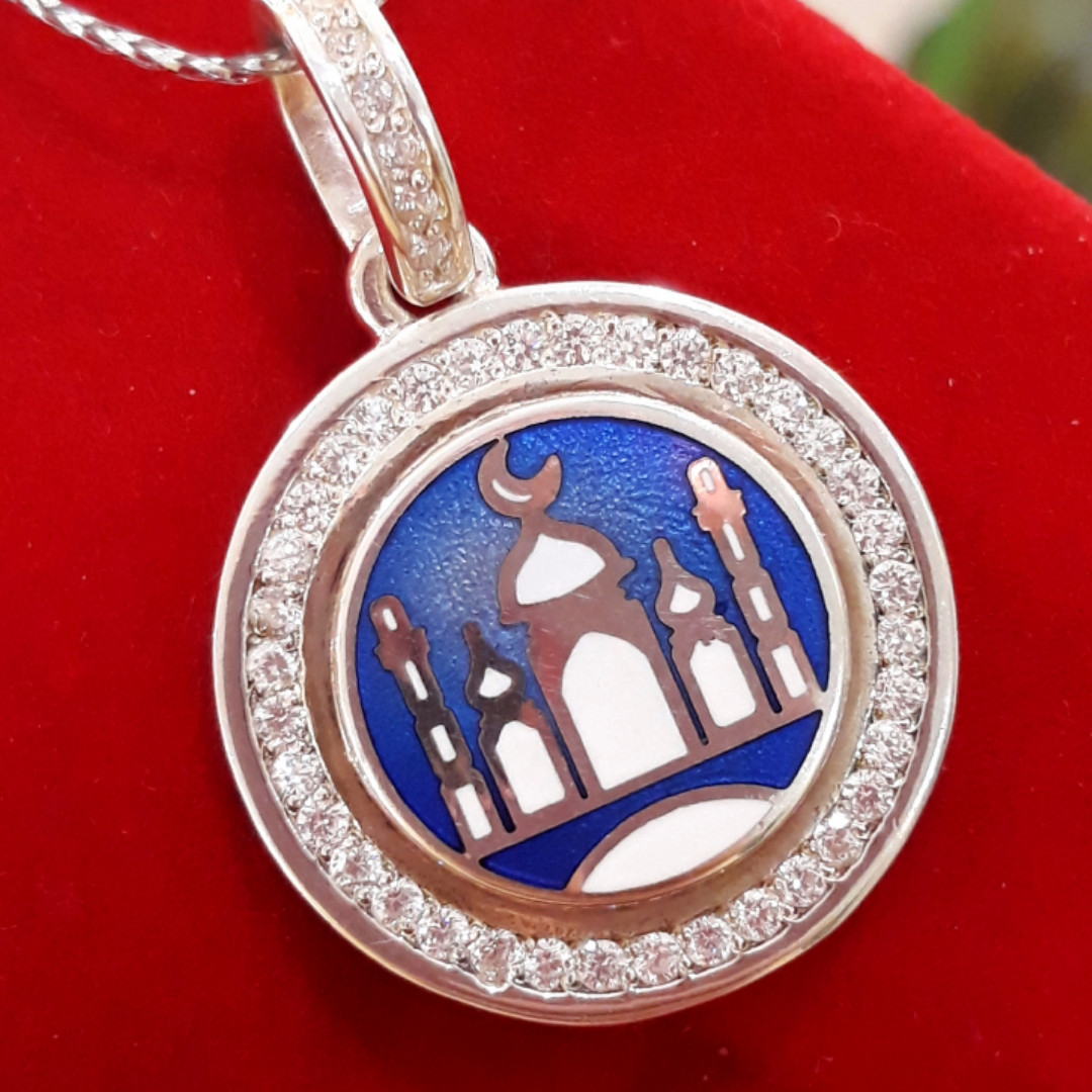 Серебряная мусульманская подвеска Мечеть - Мечеть кулон серебро 925  - Подвеска Мечеть серебро