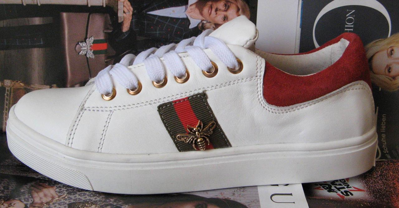 c28522d4 Gucci женские белые кожаные кеды туфли кроссовки в стиле Гуччи декорированы  лентами в полоску