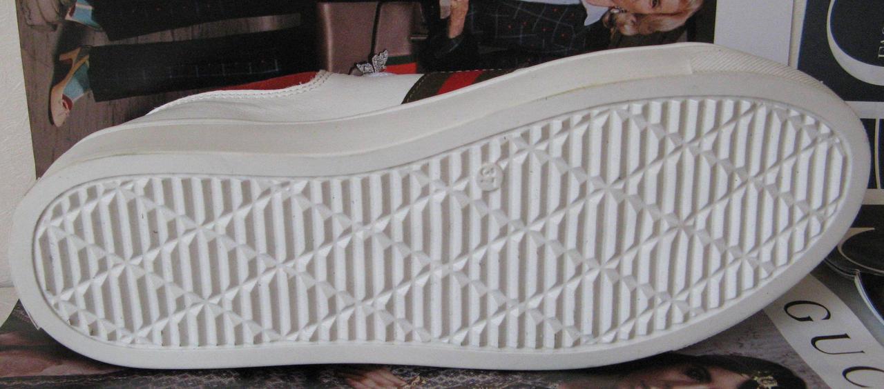 ... фото · Gucci женские белые кожаные кеды туфли кроссовки в стиле Гуччи  декорированы лентами в полоску, ... 4c3119e2d01