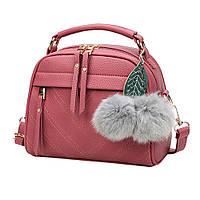 Шикарная темно-розовая женская сумка с помпонами