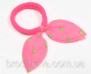 Резинка для волос солоха в горошек ярко-розовая