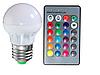 Цветная светодиодная лампа 3Вт RGB LM736 E27 с пультом