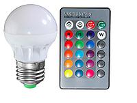 Цветная светодиодная лампа 3Вт RGB LM736 E27 с пультом, фото 1