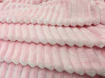 Плюш Minky Stripes розовый 350г/м2