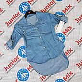 Джинсовые детские рубашки для девочек  оптом