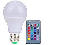 Цветная светодиодная лампа RGB 5Вт LM734 Е27 с пультом, фото 1