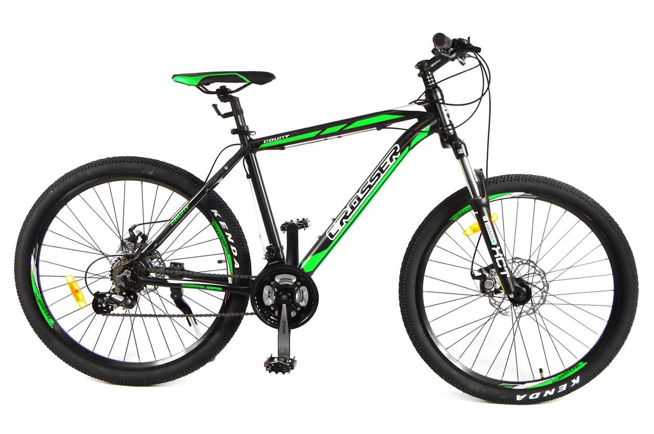 """Гірський велосипед Crosser COUNT R26"""" 17"""" алюмінієвий з дисковими гальмами (Чорно-салатовий)"""