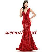 Блестящее вечернее платье в красных пайетках. Русалка