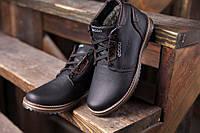 Кожанные мужские зимние ботинки  Ecco cо шнуровкой