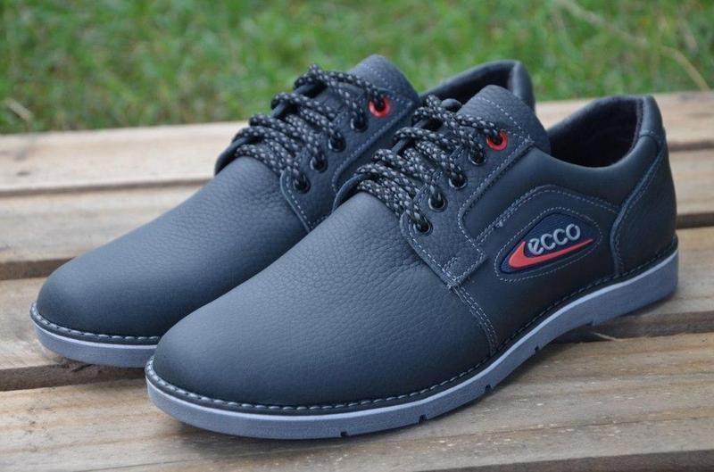 Мужские кожаные туфли кроссовки Ecco экко синие 40 da0c560b0381f