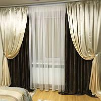 Шторы для зала, гостиной, спальни Erika (шоколад)