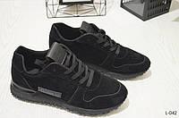 37-й!!Кроссовки женские черные замшевые, спортивная обувь , фото 1