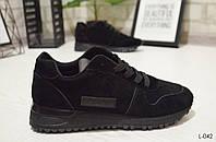 Кроссовки черные замш, модные, удобные, легкие, женская спортивная обувь